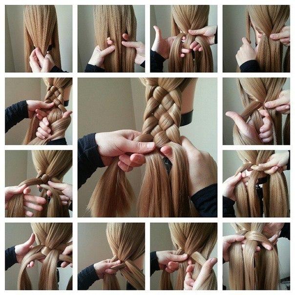 Плетение прически на длинные волосы своими руками видео