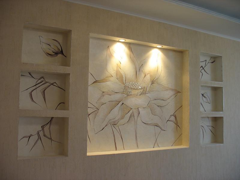 Декоративные ниши из гипсокартона фото