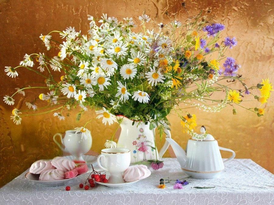 Красивые открытки с полевыми цветами с добрым утром, летием